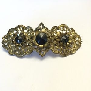 Gorgeous Vintage gold tone & black tone hair clip
